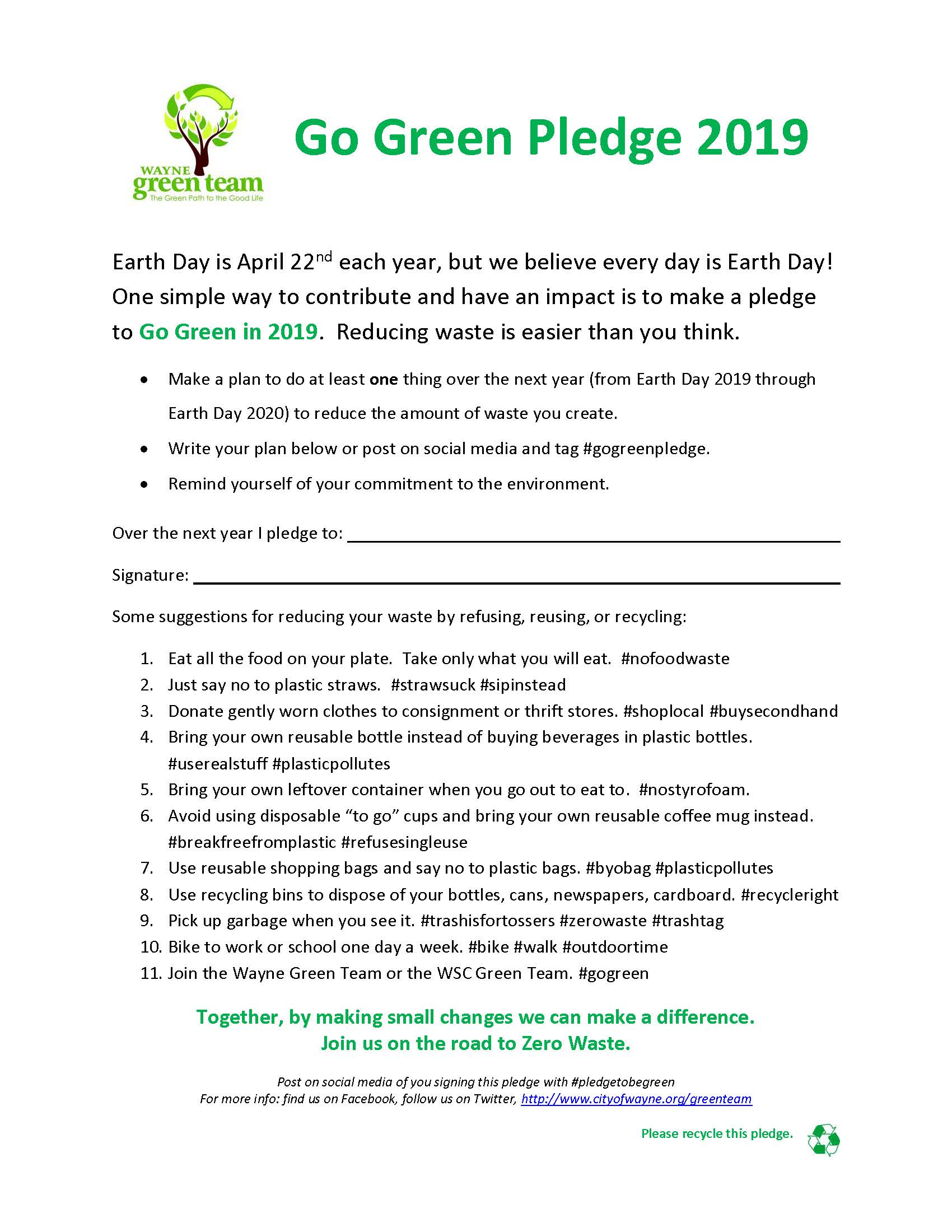 Go Green Pledge 2019